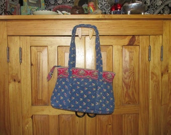 "Beautiful Retired Pattern ""EMILY"" VERA BRADLEY Tote Handbag Purse ~ Gently Used ~ 12"" x 8"" w/25"" Straps ~ Boho ~ Country ~ Floral ~ Denim"
