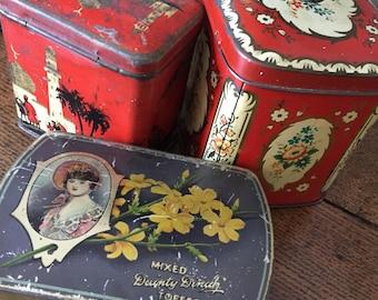 Set of three collectible vintage tins
