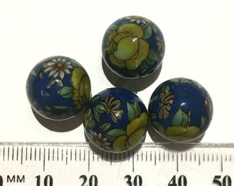 4 dark blue glossy yellow rose floral Japanese tensha acrylic beads 14mm