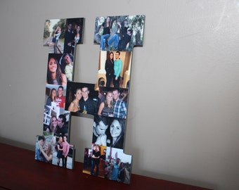 """Mother's Day Gift, Personalized Mother's Day Gift, 13"""" Wooden Letter Personalized Gift, Wall Hanging Photo Collage, Father's Day Gift,"""