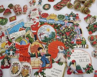 Antique Christmas Seals - Diecut Labels, Huge Lot Vintage Christmas 1920s-50s, Dennison