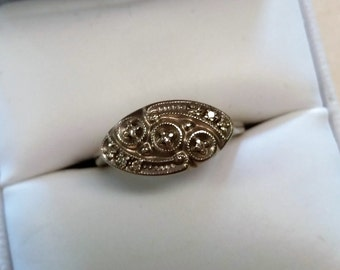 Vintage 14kt White Gold and Diamond Ring