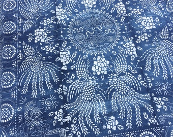 Chinese Indigo Batik in a Large Size! Fabric, Vintage Chinoiserie Bedcover, Traditional Indigo Blue, Boho Decor