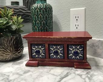 Apothecary Spice Cabinet, 3 Ceramic Drawers, Herbs Wood Spice Box, Tea Bag Storage, Medicine Cabinet, Item #523420009