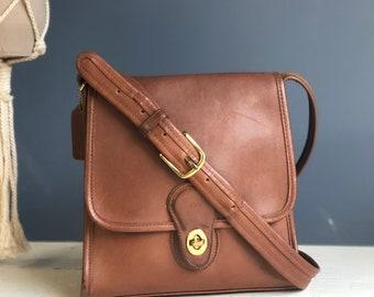 COACH 9038 Shelburne Flap Brown Leather Shoulder Bag