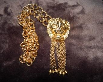 Vintage Lion Head Necklace Large Heavy Dangles Gold Tone Lion Door Knocker Necklace