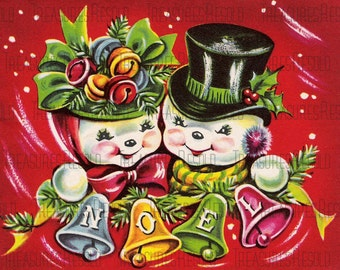 Retro Snowman Couple Noel Christmas Card #586 Digital Download