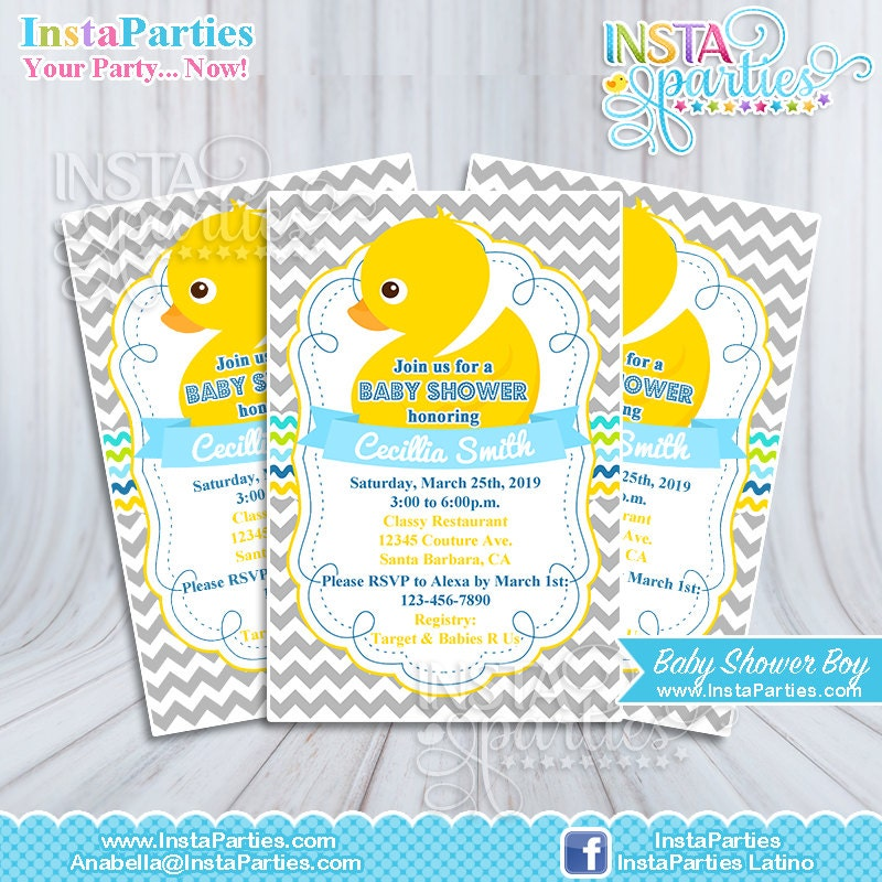 Baby Shower Invitations Boy Rubber Ducky Yellow Welcome Party
