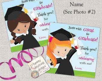 Girls Graduation Tags, Kids Graduation Sticker, Digital Graduation Thank You Card, Custom Graduation 4 inch Treat Bag Label,Kinder Preschool
