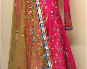 Indian Pakistani long sleeve Hot pink and Yellow Suit/ Pink Anarkali/ Long suit/ Kalidaar kurta/ Bollywood Bridal Gown/ Wedding Party Dress