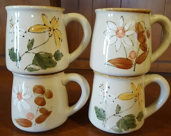 Floral Stoneware Coffee Cups/Mugs