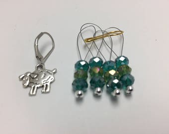 Blue Green Sheep Stitch Markers And Progress Keeper Set