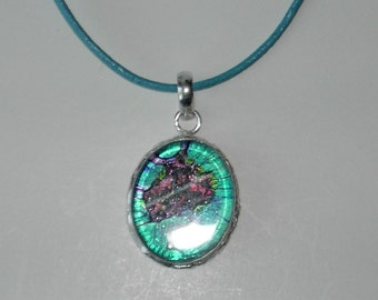 Dichroic Glass pendant leather necklace (#536-4)