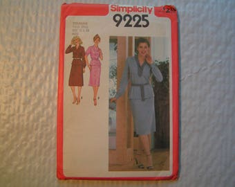 Vintage Simplicity Pattern 9225 Miss Two Piece Pullover Dress and Tie Belt Suitable for knit or woven