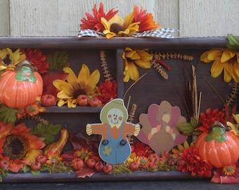 "17"" Thanksgiving Autumn Shadow Box"
