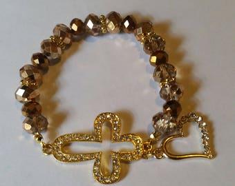 Religious Christian Jewelry Cross Heart Bracelet Religious Jewelry Christian Bling BR32