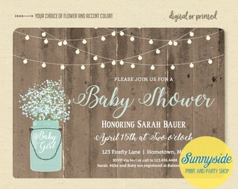Rustic Baby Shower Invitation with twinkle lights and mason jar, baby boy baby girl invite, printable invitation, babies breath and barnwood