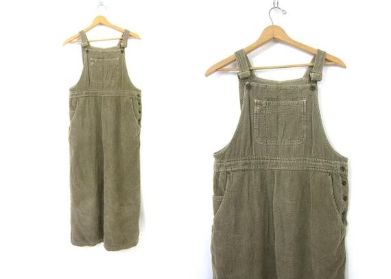 taupe Corduroy Bibs Dress Vintage 1990s Jumper Bibs POCKET Dress Preppy Long Casual Hipster Open Bust Top Dress Women's size medium