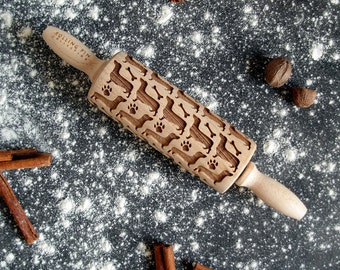 Rolling pin small, embossing rolling pin, laser engraved rolling pin, Dachshund