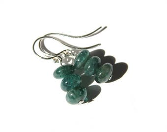 Apatite Sterling Earrings Argentium Silver Dark Blue Green Teal Smooth Rondelle Three Beads Blue Earrings Modern Apatite Jewelry #17574