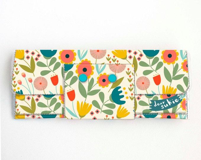 Vinyl Long Wallet - Scandinavian Summer 1 / folk, floral, flowers, bright, vegan, large wallet, clutch, card case, vinyl wallet, handmade