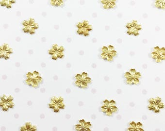 Tiny Cherry Blossom Embellishments   Gold Flower Studs for Nail Art & Crafts - 100pcs