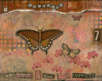 Wall art   Wall Decor   Original art   Happiest In the Garden   painting by Teresa Kogut