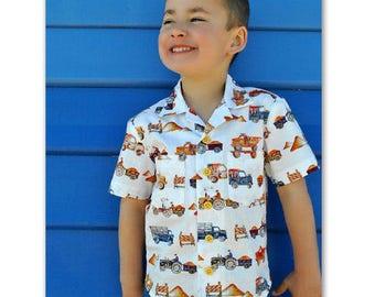 Boy's shirt sewing pattern The Thomas Shirt pdf sewing pattern, Hawaiian style shirt sizes 2 to 14 years.