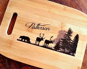 Unique Personalized Wedding Gift Ideas   Gifts for Clients   Bamboo Cutting Board, Name Gift, Outdoor, Wildlife, Deer, Camping, Rustic