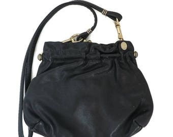 Vintage FS Originals Purse - Black Leather Shoulder Bag, Long Handled Purse, Convertible Clutch Bag