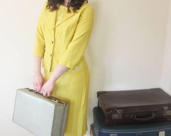 40's WW2 dress and jacket mustard yellow vintage wedding outfit or Goodwood event