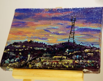 """Sutro Tower Sunset in San Francisco, CA Painting by marinelaArt - Acrylic Fine Art Painting on 3"""" x 4"""" Large Canvas Paintings"""