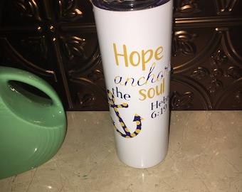 Hope Anchors the Soul Skinny Tumbler