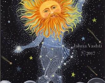 Print / Home Decor / Nursery Decor / Brother Sun / The Sun / Sun King / Whimsical Art / Stars / Magical Art / Whimsical / Constellation