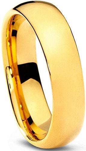 R4U 18K 6mm Gold Plated Comfort Fit Highly Polished Tungsten Carbide Dome Unisex Wedding Ring Band 5zbYe