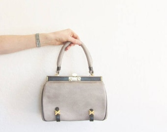 60s Vintage Gray Leather Purse | Structured Top Handle Bag | Gold Hardware