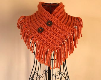 Fringed Cowl Scarf, Pumpkin, Button Cowl, Infinity Scarf, Infinity Cowl, Fall, Orange, Wood Buttons, Fringe, Triangle Cowl, Chunky Knit