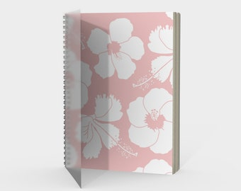 Tropical Hibiscus Flowers Spiral Notebook in Blush Pink with drawing paper or sketch paper blank, ruled, graph or bullet journal metal coil