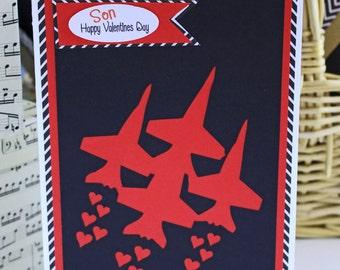 Fighter Jet Valentine Card - Fighter Valentine, Fighter Jet Stream with Hearts, Valentine's Day, Kids, Teens, Boys, Girls, Adults, Military