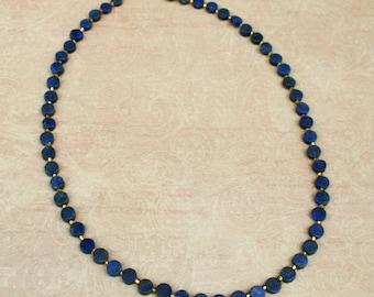 Lapis lazuli coin bead necklace
