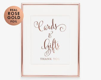 GIFT TABLE SIGN Cards & Gifts Rose Gold Foil Print Wedding Sign Reception Sign Birthday Party Sign Wedding Calligraphy Wedding Signage D35