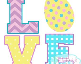 Easter Egg Love IRON ON TRANSFER- Love - Tshirt - Bodysuit - Tote Bags