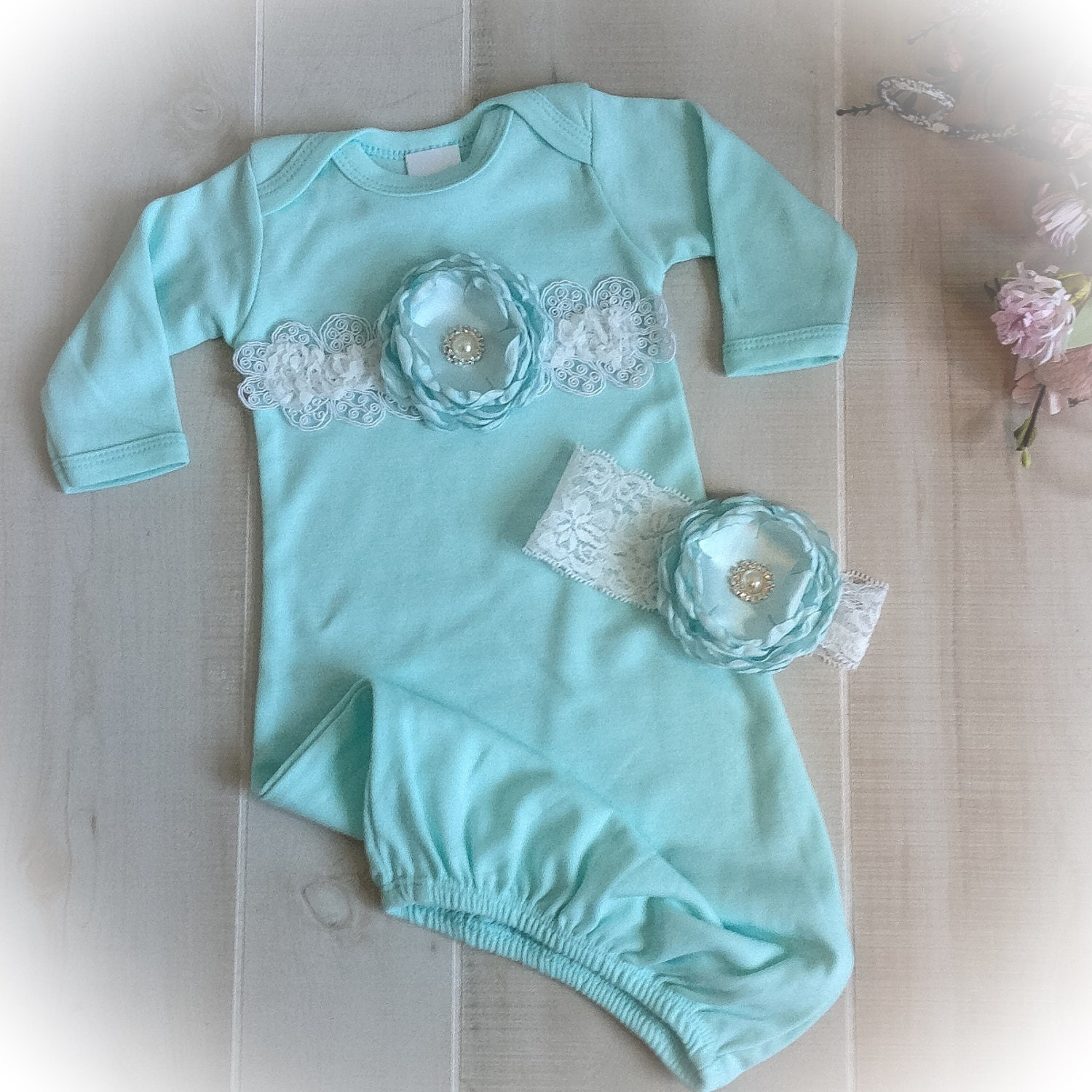 Newborn Girl Outfit, Baby Girl Coming Home Outfit, Newborn Gown ...