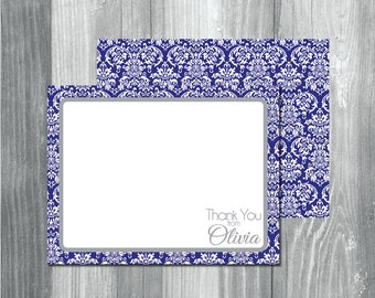 Personalized Notecard Set, DIY or Printed Thank You Cards, Custom Note Cards, Personalized Stationery, Blue Damask and Gray Thank You Cards