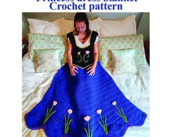 Princess Dress Blanket, Crochet pattern. Includes 3 sizes. Printable download