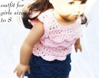 Girls sizes 5 to 8 Ruffle Skirt and Cotton Top Crochet Pattern PDF 405