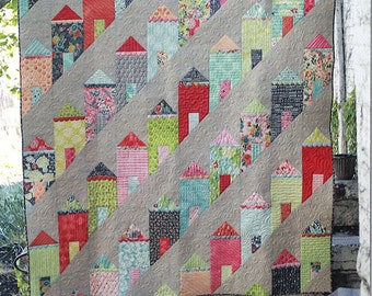 Painted Ladies Quilt Pattern - Eye Candy Quilts ECQ 2117 - Houses on a Hill Quilt Pattern