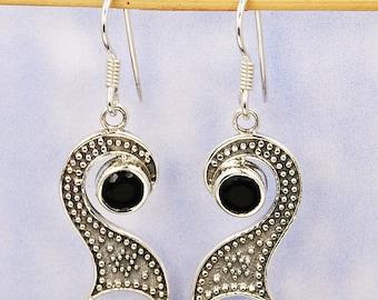 Black Onyx Earrings & Sterling Silver Dangle Earrings AE944 The Silver Plaza