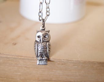 Dainty silver plated brass owl necklace
