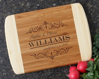 Personalized Wedding Gift, Personalized Cutting Boards, Custom Engraved Bamboo Cutting Board, Housewarming Gift, Anniversary Gift-10 x 7 D34